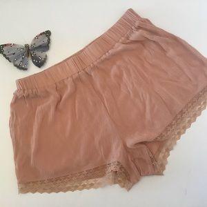 ✅ Active Mauve Lace Trim Shorts Sz Medium